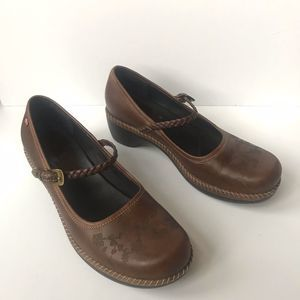 Ecco Brown Leather Mary Jane Shoes Heels Size 38 8